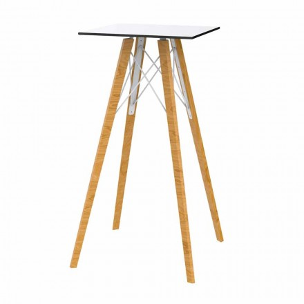 Vierkante design hoge bartafel in hout en HP, 4 stuks - Faz Wood van Vondom