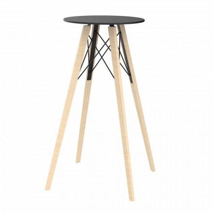 Ronde design hoge bartafel in hout en HP, 4 stuks - Faz Wood van Vondom