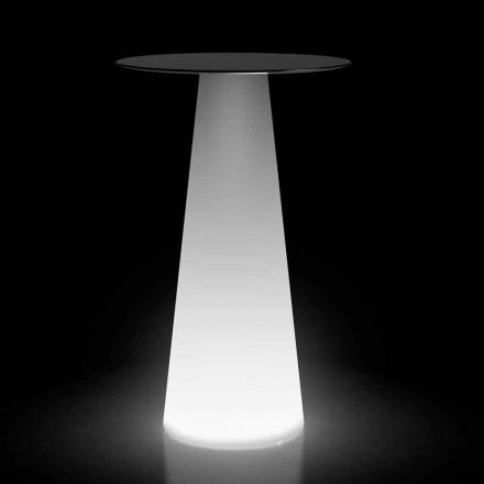 Hoge buitentafel met LED-licht in HPL en polyethyleen Made in Italy - Forlina