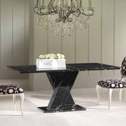Eettafel gemaakt van zwart marmer, klassiek design, 200x100 cm Byron