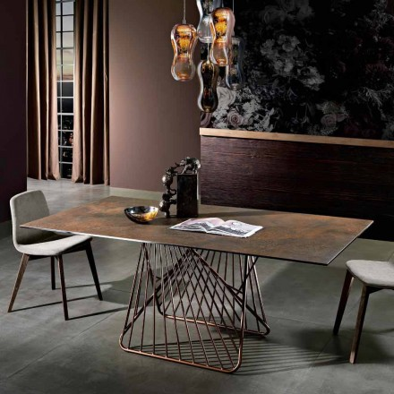 Moderne tafel met glas-keramiek oppervlak gemaakt in Italië, Mitia