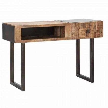 Consoletafel van ijzer en acaciahout met designlade - Dena