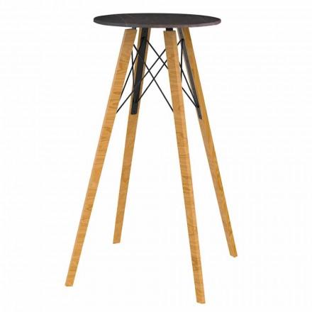 Ronde hoge bartafel in hout en marmereffect 4 stuks - Faz Wood van Vondom