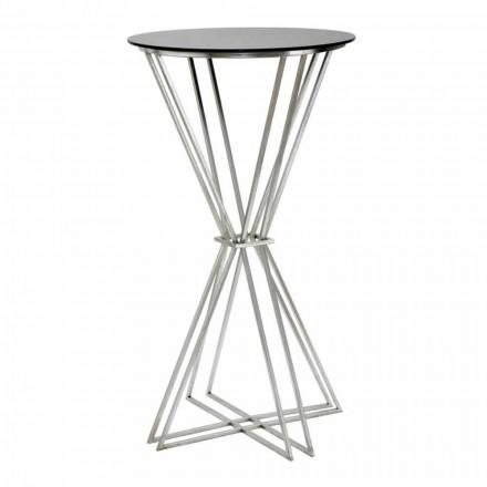 Moderne design ronde bartafel in ijzer en glas - Benita