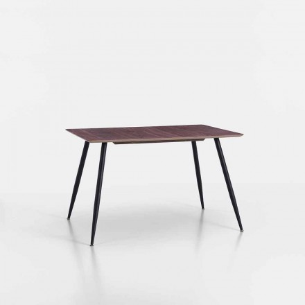 Moderne design keukentafel in Mdf en mat zwart metaal - Foulard
