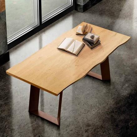 Eettafel in massief hout en metaal gemaakt in Italië, Flora