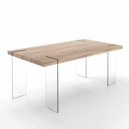 Moderne keukentafel met Mdf-blad en glazen voet - Joey