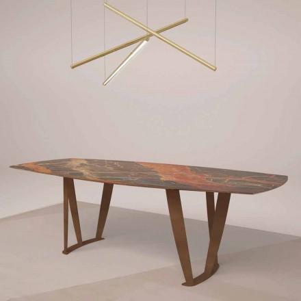 Luxe rechthoekige tafel in Ombra-marmer van Caravaggio en metaal - Naruto