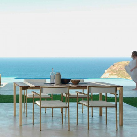 Moderne houten en roestvrijstalen buitentafel 200x100 Casilda Talenti