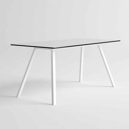 Tuintafel in wit aluminium en HPL laminaat modern design - Oceanië 2
