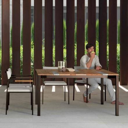 Casilda Talenti tuintafel in hout en roestvrij staal 150x150 cm