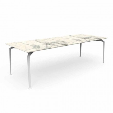 Moderne rechthoekige tuintafel in steengoed en aluminium - Cruise Alu Talenti