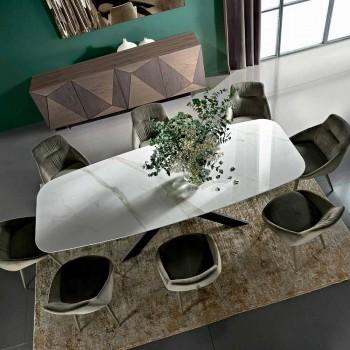 Barrel eettafel in hypermarble en staal Made in Italy, luxe - grotta