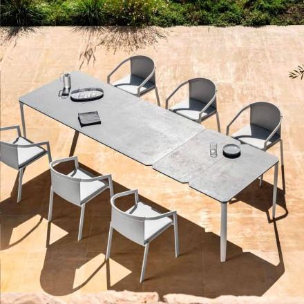 Uitschuifbare eettafel voor buiten 318 cm in aluminium en steengoed - Filomena