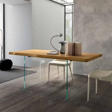 Uitschuifbare eettafel tot 280 cm in hout en glas Made in Italy - Focus