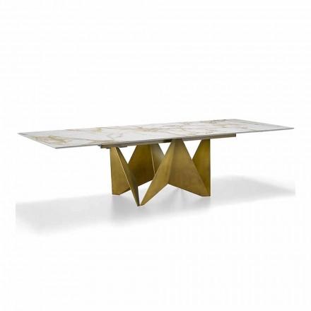 Luxe uitschuifbare tafel tot 294 cm in marmer-steengoed gemaakt in Italië - macro