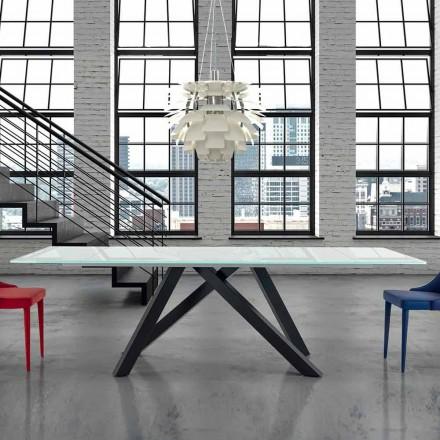 Uitschuifbare glazen eettafel tot 300 cm Made in Italy - Settimmio