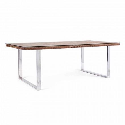 Homemotion Eettafel met blad van hout en gehard glas - Blanco