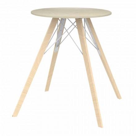 Ronde design eettafel in hout en Dekton 4 stuks - Faz Wood van Vondom