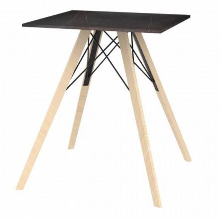 Design eettafel in hout en vierkant Dekton 4-delig - Faz Wood van Vondom