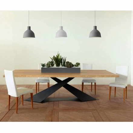 Moderne design eettafel met Elliot made in Italy eiken blad