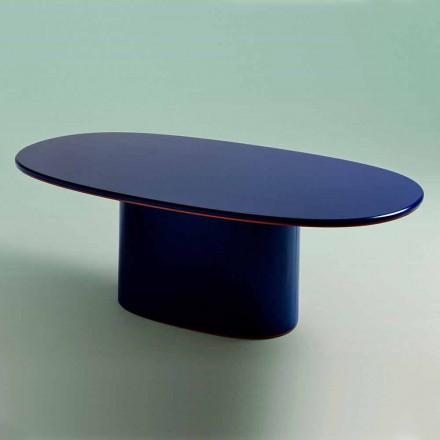 Moderne design ovale eettafel in blauw MDF en koper Made in Italy - Oku