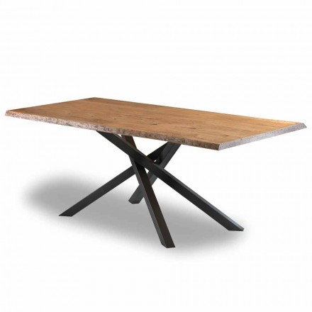 Design eettafel in hout met stalen onderstel Made in Italy - Licis