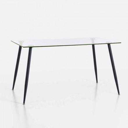 Moderne design eettafel van gehard glas en zwart metaal - Foulard