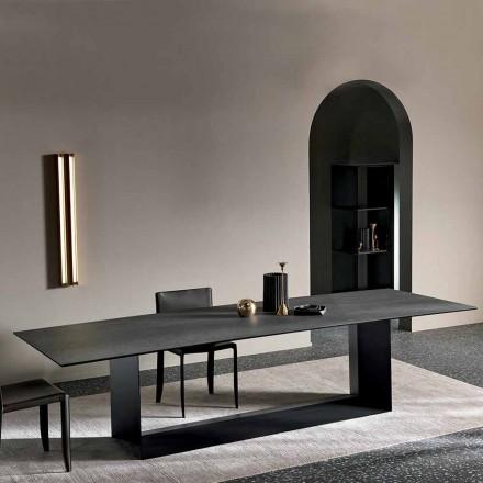 Antraciet Savoy Stone keramische eettafel gemaakt in Italië - donkerbruin