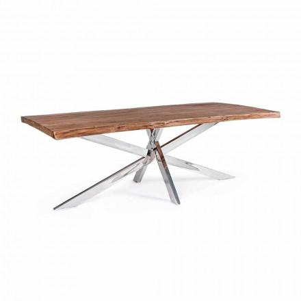 Homemotion design eettafel van hout en roestvrij staal - Kaily