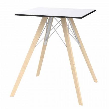 Vierkant design houten en HPL eettafel, 4 stuks - Faz Wood van Vondom
