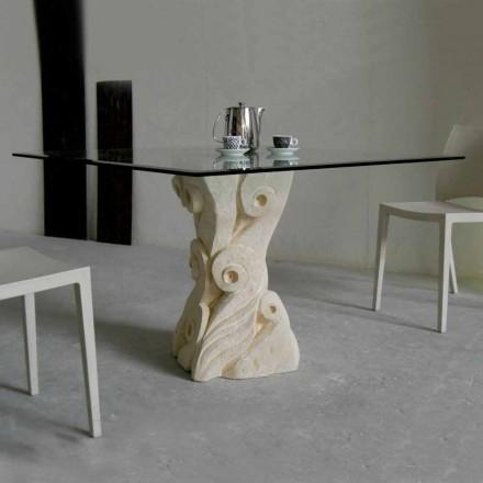 stenen eettafel met glazen blad ontwerp Giasone