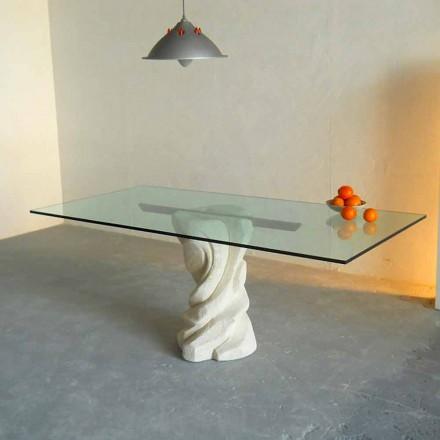 stenen eettafel en glas modern design Uranus