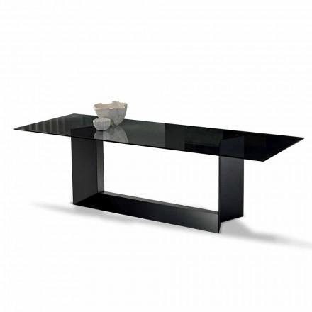 Eettafel in gerookt of Extralight glas en metaal gemaakt in Italië - Moro