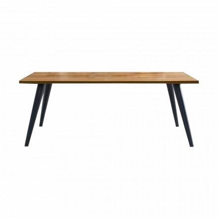 Moderne eettafel met houten blad en onderstel Made in Italy - Motta