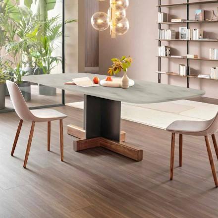 Moderne eettafel met marmeren blad Made in Italy - Bonaldo Cross-tafel