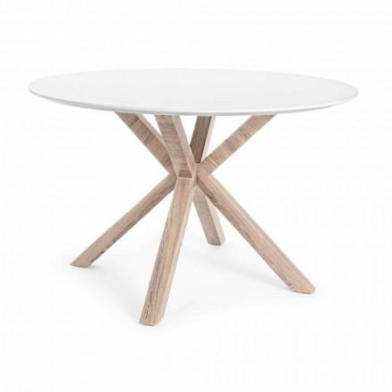 Moderne eettafel met rond blad in wit Mdf Homemotion - Vento