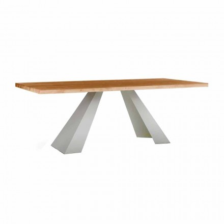 Eettafel in hout en wit metaal, hoge kwaliteit gemaakt in Italië - Miuca