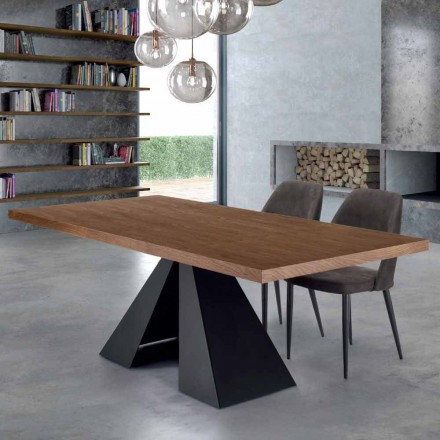 Moderne eettafel in gefineerd hout en staal Made in Italy - Dalmata