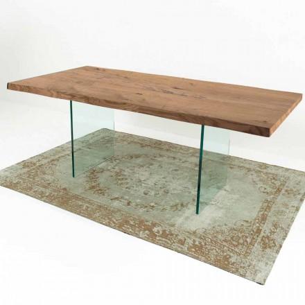 Moderne eettafel in gefineerd hout en glas Made in Italy - Strappo