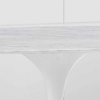 Ovale eettafel met Carrara marmeren blad Gemaakt in Italië - Nero