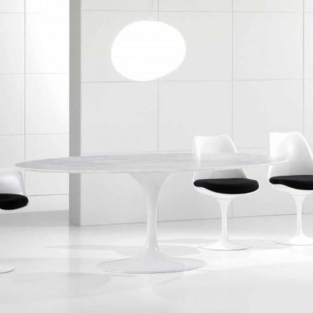 Luxe ovale eettafel, Carrara marmeren blad, gemaakt in Italië - Nerone