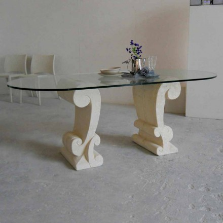 ovale eettafel van steen en klassiek design kristal Arachne