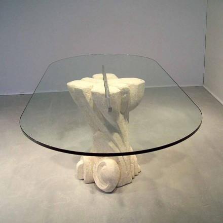 Ovale tafel met de hand gesneden in Vicenza Stone en Aphrodite kristal
