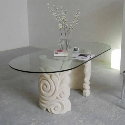 ovale eettafel in steen en modern design kristal Aden
