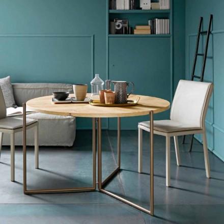 Moderne opklapbare eettafel in hout en metaal Made in Italy - Menelao