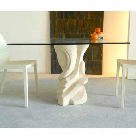 Vierkante tafel in Vicenza Stone en Leda-kristal, met de hand gesneden