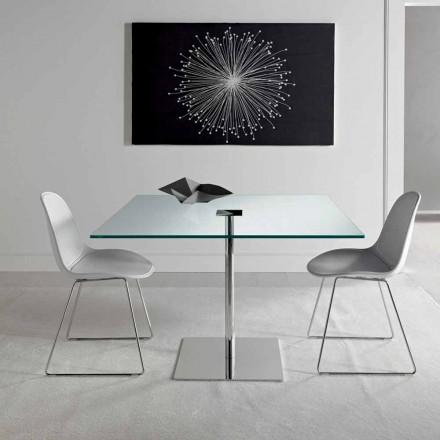 Vierkante eettafel in Extralight glas en metaal gemaakt in Italië - Dolce
