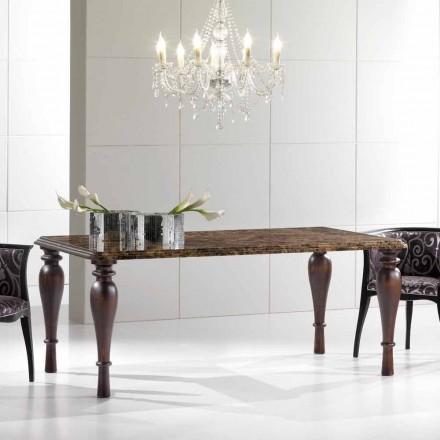 Rechthoekige eettafel in donker marmer Emperador Made in Italy - Nicolas
