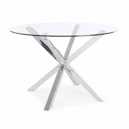 Homemotion Ronde eettafel met blad van gehard glas - Denda